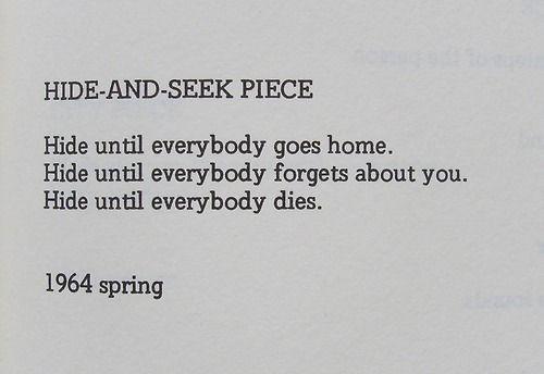 Yoko Ono, 'HIDE AND SEEK PIECE', 1964.