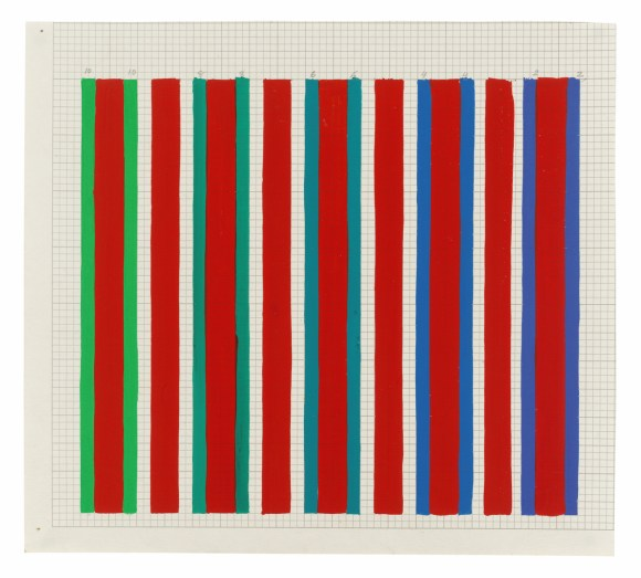 Bridget Riley, 'Untitled 3 [Following 'Late Morning']', 1972-1973, Pencil and gouache on graph paper,9.5 x 10.5 inches (24,1 x 26,7 cm)