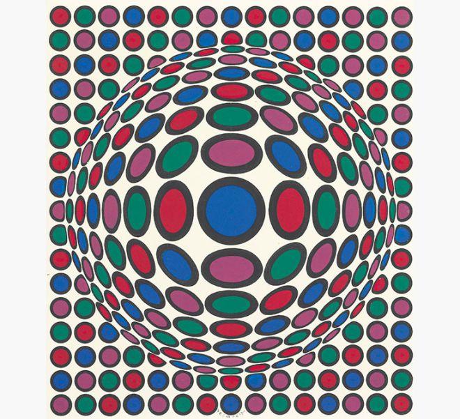 Victor Vasarely (1906-1997), URU, acrylic on masonite, Painted in 1975. Estimate: $12,000-18,000.