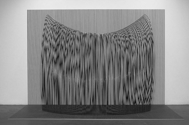 """Tom Orr, WATERFALL, 122"""" x 184"""" x 84"""", steel, paint, wood"""