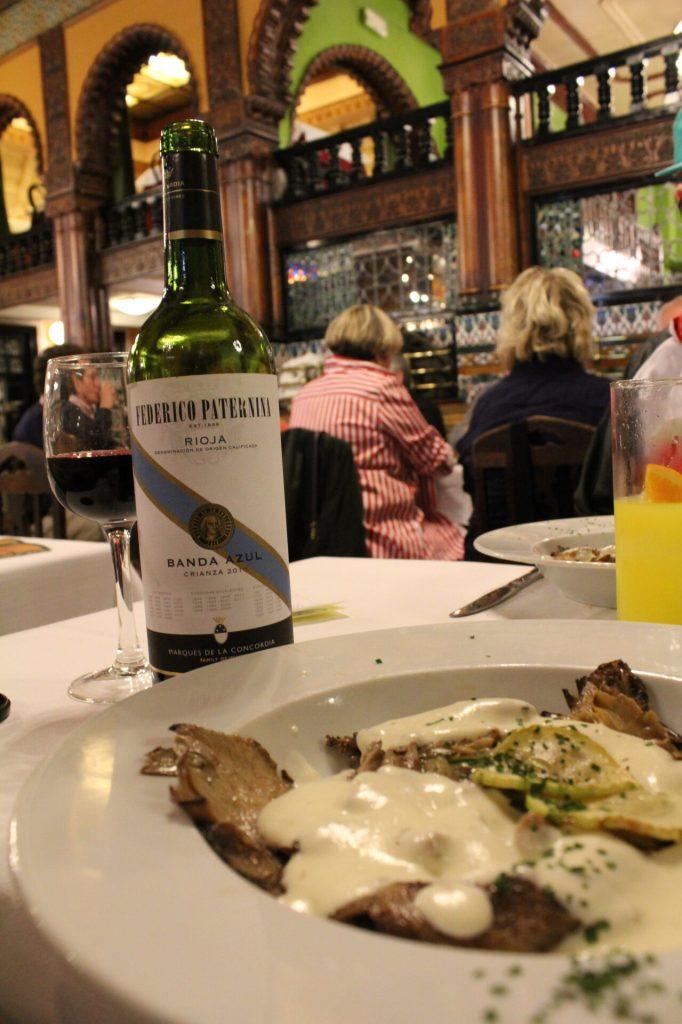 Wine at Cafe Iruña, Bilbao