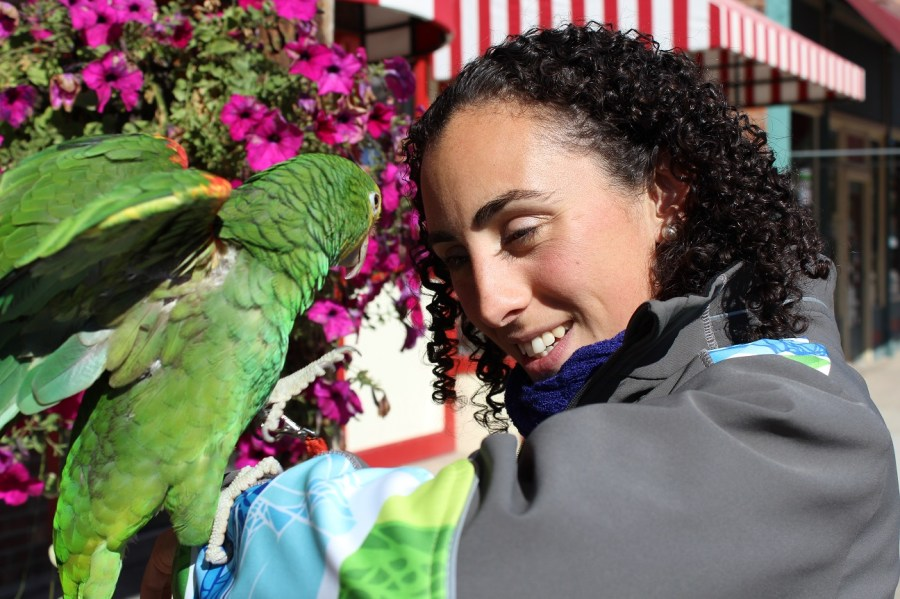 Elana with Parrots in Hill City