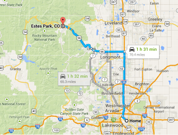 Directions for Denver to Show-Showing in Estes Park