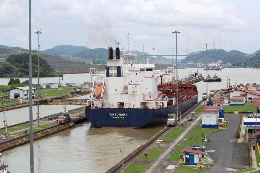 Ship crossing towards the Pacific side of the Panama Canal