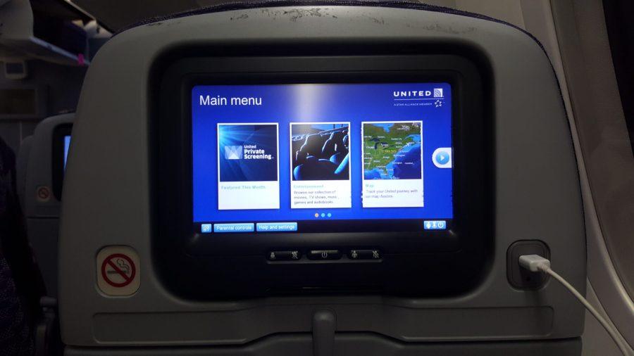 United in-flight entertainment on the Dreamliner