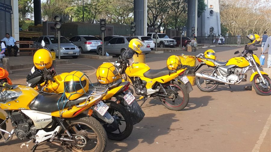 Taxi motorcycles on our trip to Paraguay from Brazil