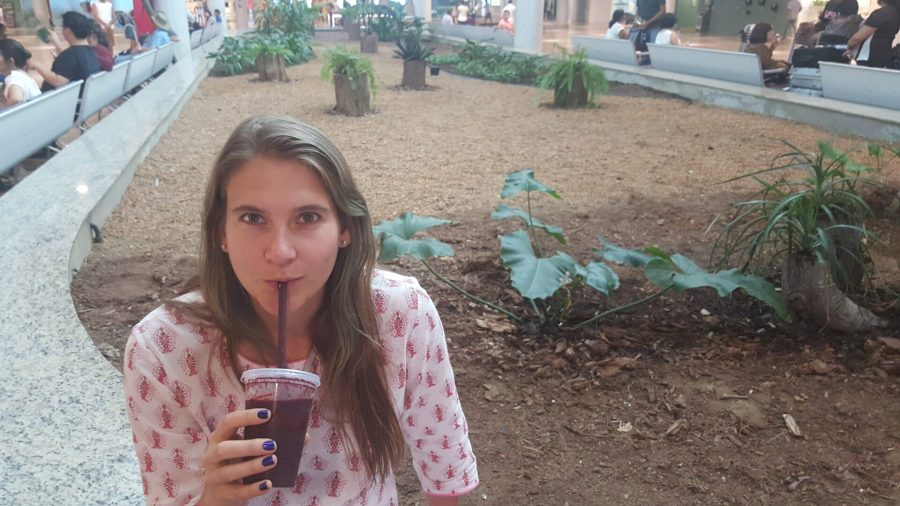Manaus daytripping - CJ with an acai smoothie at MAO Airport