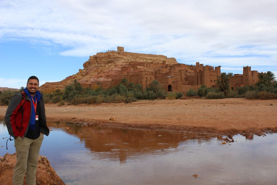 Brendan fording the stream at Ait Ben Haddou