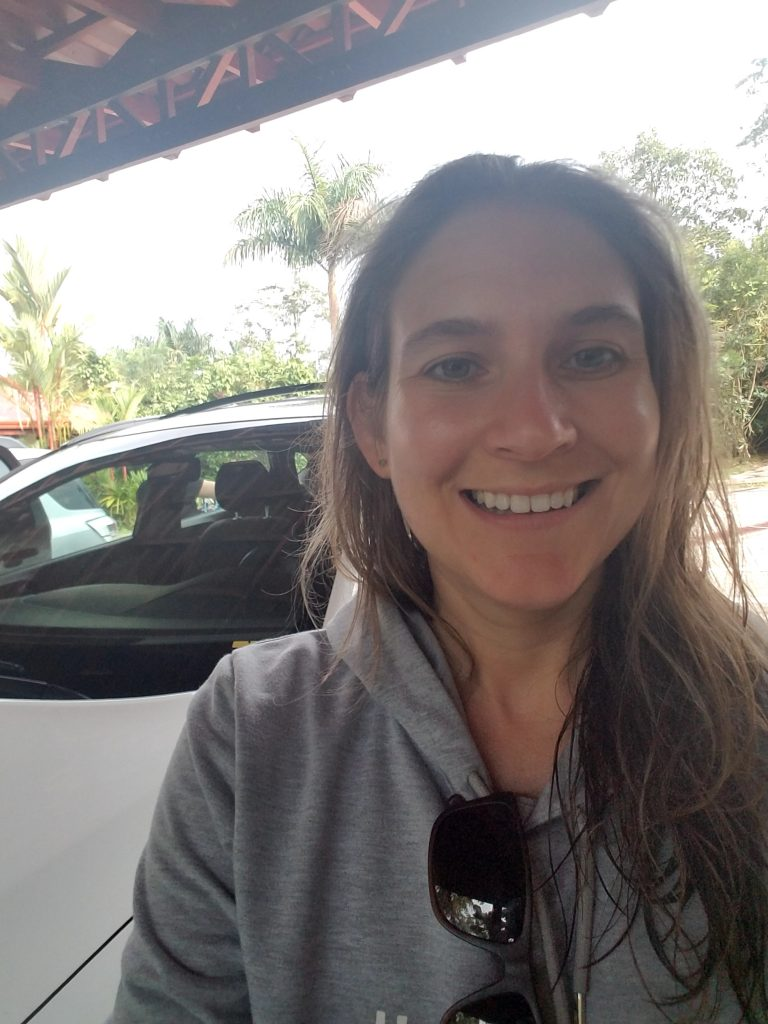Our rental car and me - Crossing the border from Nicaragua to Costa Rica