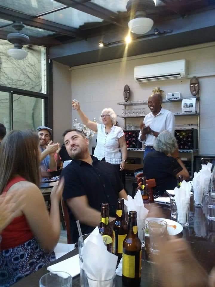 Brendan at Gheneb with Leslie toasting