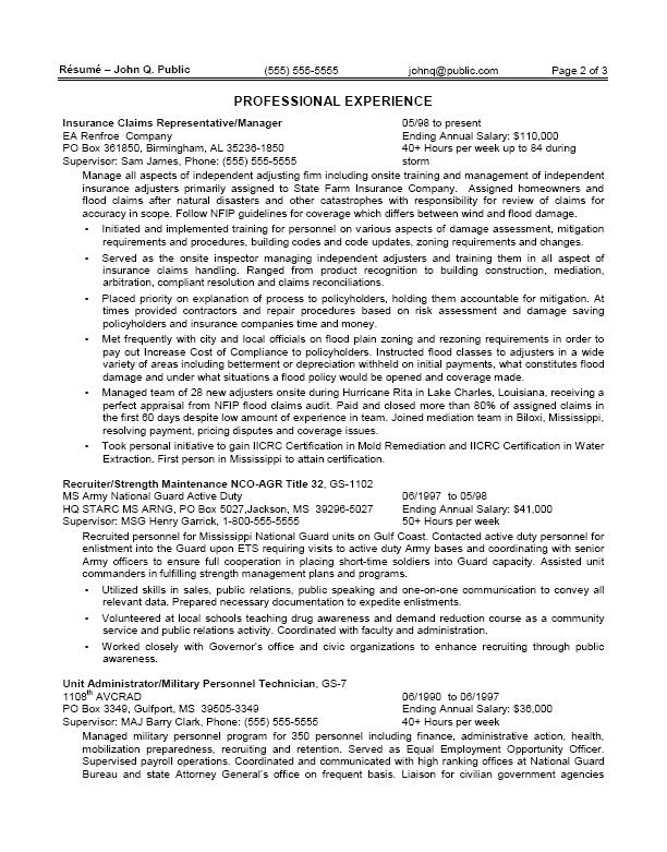 Sample government resume for contract specialist