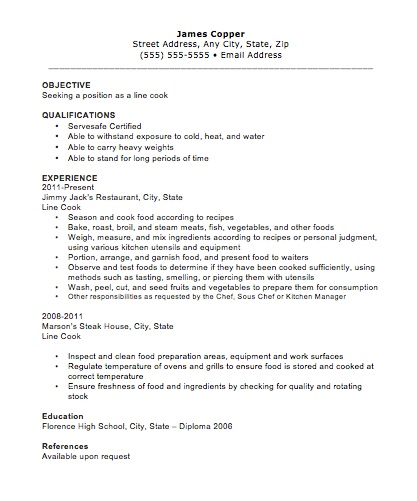 cook objective resume examples