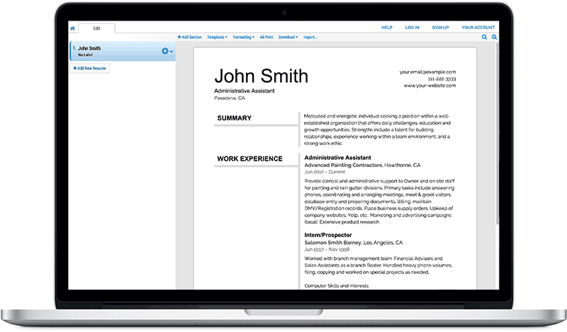 Using an online resume generator