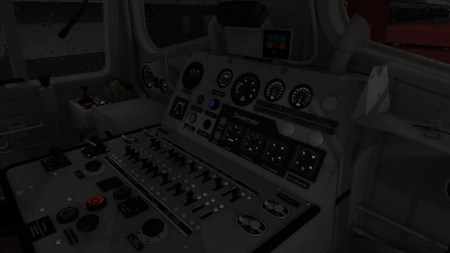 The impressive array of controls inside a train cab.