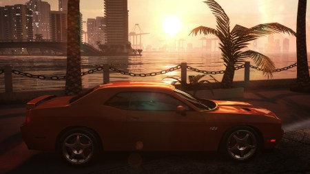 A classic Dodge overlooking  Miami bay. Lovely.