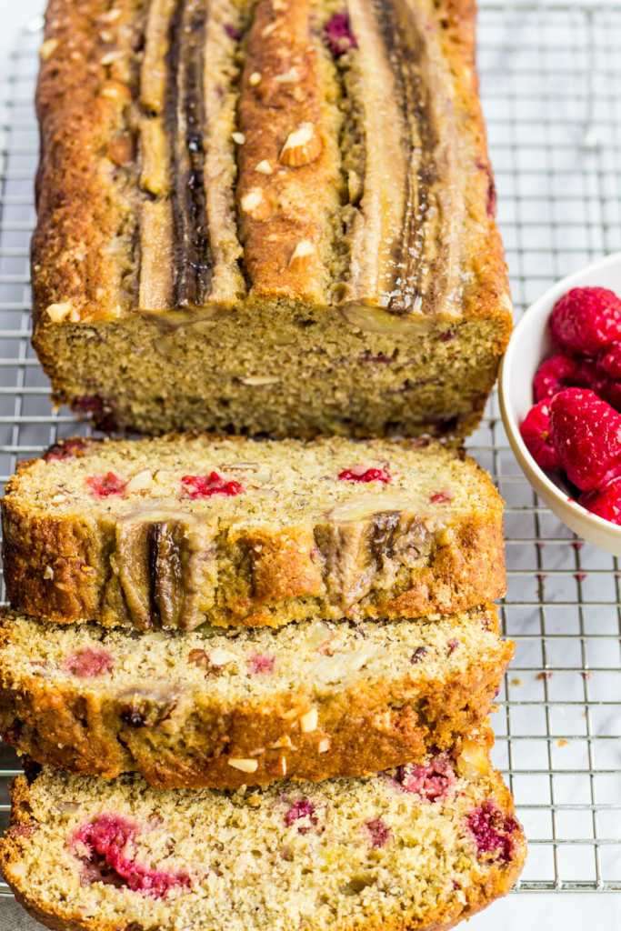 Whole wheat banana bread with raspberries and almonds