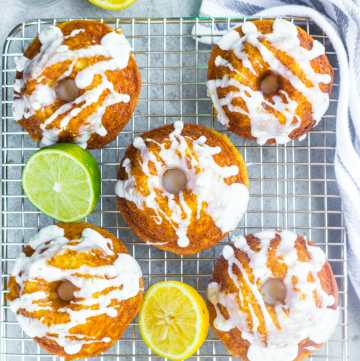 Mini lemon bunt cakes made with sprite and drizzled with lemon lime icing