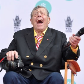 HOLLYWOOD, CA - APRIL 12: Comedian Jerry Lewis attends the Jerry Lewis Hand and Footprint Ceremony at TCL Chinese Theatre during the 2014 TCM Classic Film Festival on April 12, 2014 in Hollywood, California. (Photo by Alberto E. Rodriguez/WireImage) *** Local Caption *** Jerry Lewis