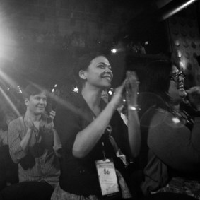 Pass holders Carley Johnson and Nicole Alvarado applaud Vince Giardano and the Nighthawks following The Cameraman (1928) on Saturday at the TCM Classic Film Festival in Hollywood, California. 4/30/11 ph: Mathieu Young TCM