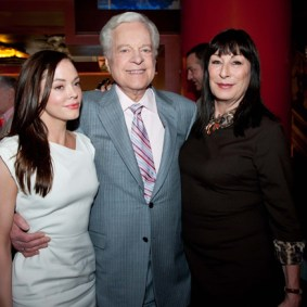 Rose McGowan, Robert Osborne, and Anjelica Huston in the lobby of the Chinese Theatre on Saturday at the TCM Classic Film Festival in Hollywood, California, 2011