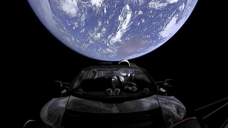 Tesla Roadster on a Road Trip To Mars