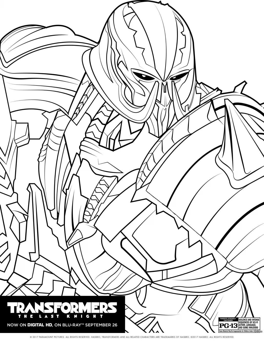 Transformers The Last Knight Coloring sheet