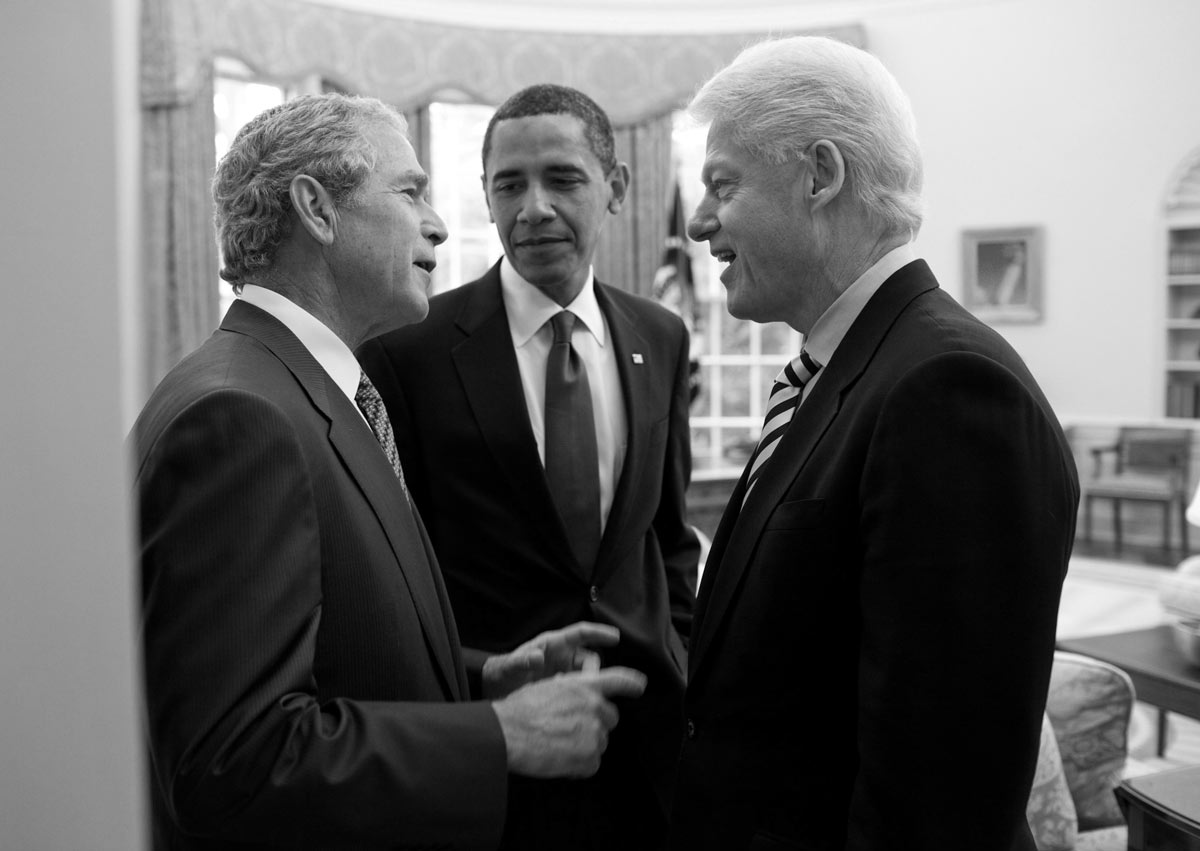 Obama, Bush & Clinton in the Oval Office