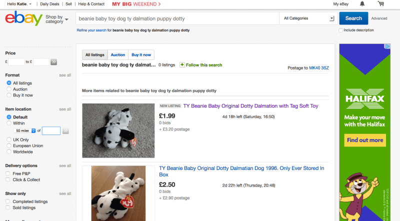 eBay search results for toy dog