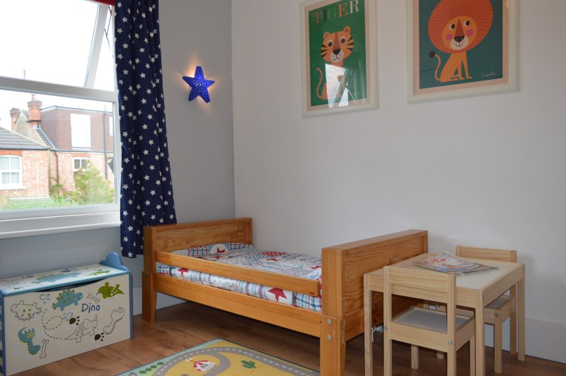 Toddler bed and star-themed accessories