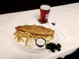 → Beer Battered Haddock – with remoulade, coleslaw and chips + a Creemore Springs Lager