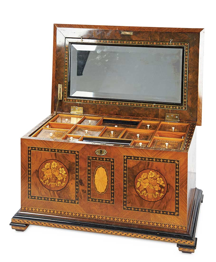 Wooden Sewing Box : wooden, sewing, Antique, Needlework, Tools, Sewing:, Large, German, Wooden, Sewing, Elaborate, Inlays, Compartments