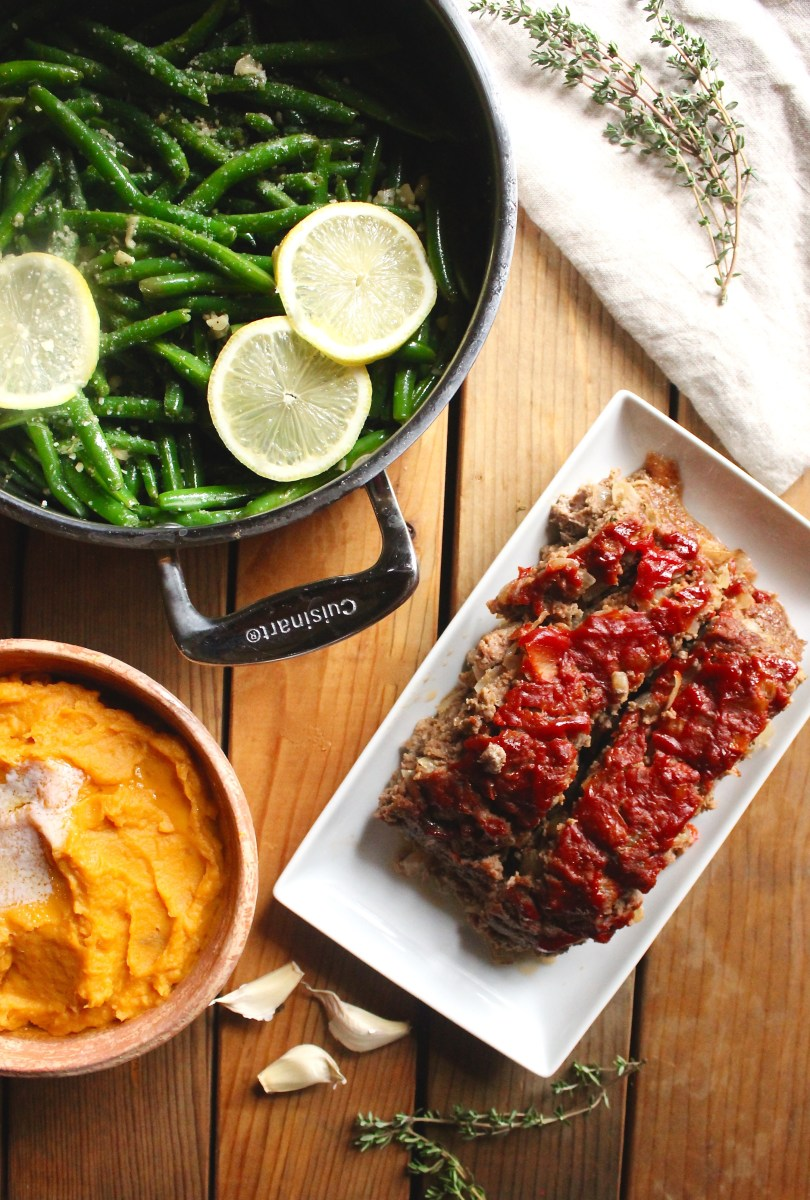 Meatloaf, Lemon Garlic Green Beans, and Mashed Sweet Potatoes