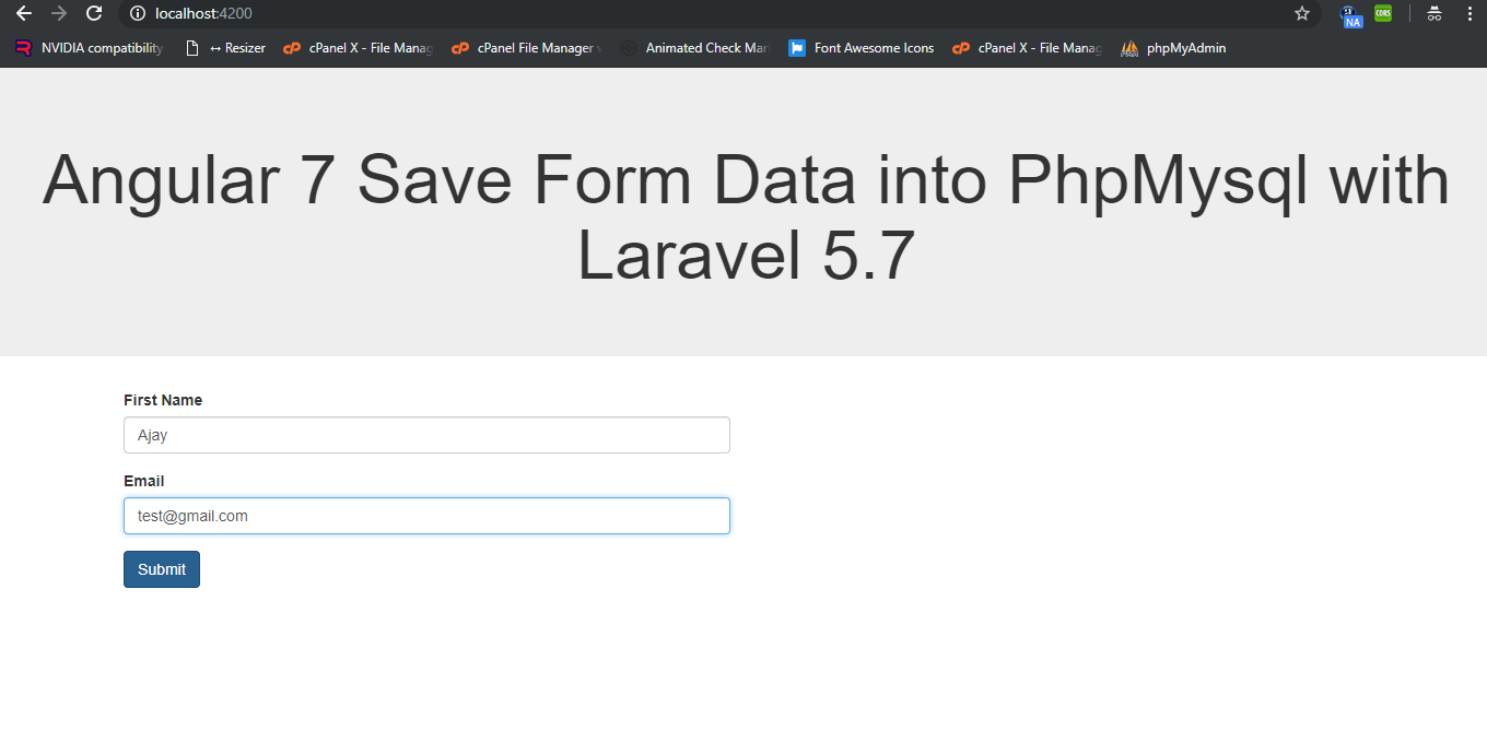 How to Save Angular 7 Form Data into Php Mysql with