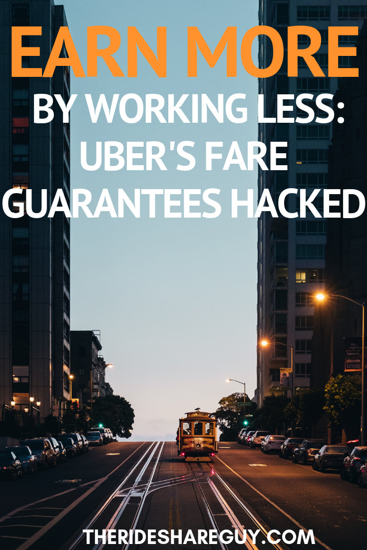 Earn More By Working Less: Uber's Fare Guarantees Hacked. We've known about this though and other requirements like 90% acceptance rate, online 50 out of 60 minutes and a minimum of 1 trip per hour. But it turns out there is a lot Uber hasn't told us about how these guarantees work too. #earnmoremoney #earnmore