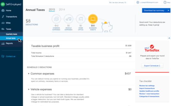 TurboTax for self employed people filing their own taxes.