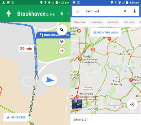 Google Maps turn-by-turn display and search results (map view)