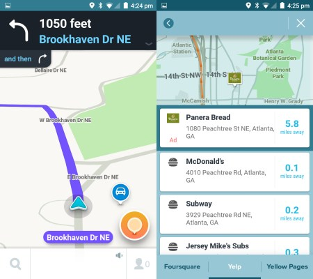 Waze turn-by-turn view and search results