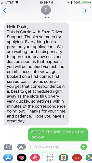image of Verification text from eaze