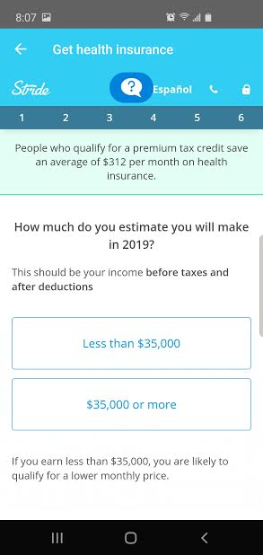 image of health insurance options through Stride tax app mileage tracker