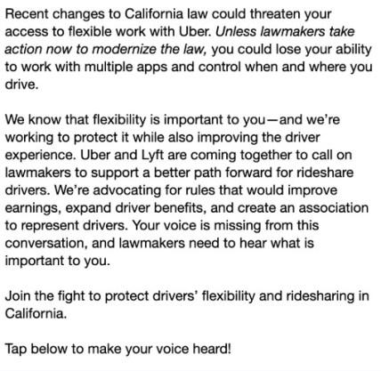 Uber's response to AB5