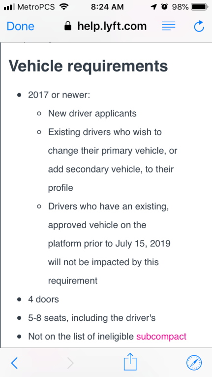 Lyft Car Requirements >> Lyft Now Requiring 2017 Or Newer Vehicles In Florida