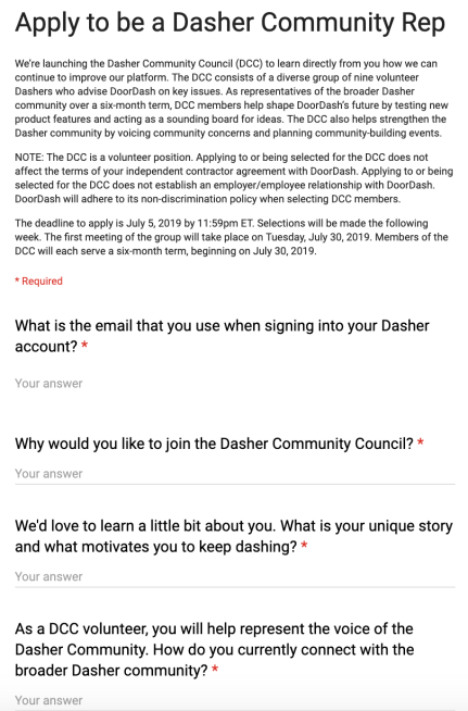 DoorDash Launches Dasher Community Council