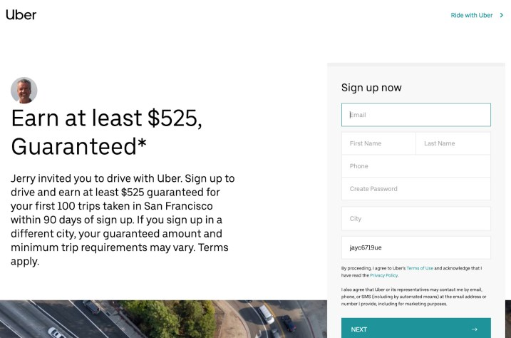Uber's current guarantee for new drivers