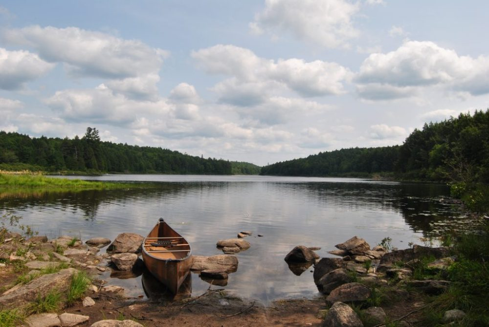 Portage on a 5 day canoe trip in Algonquin Park