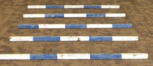 5 blue and white wood trot poles lined up as a grid