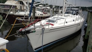 Beneteau 50 with a brand new top down furler rig. In the stowed position.