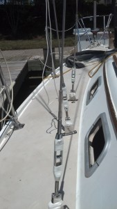 Properly pinned and taped sailboat turnbuckles