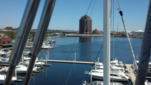 1st mariner bank view from aloft sailboat mast