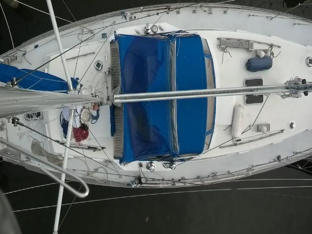 Whitby 42 from aloft on the mizzen