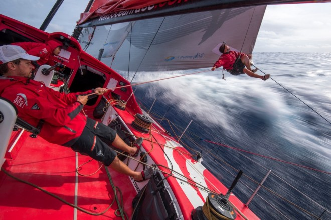 dongfeng to make in-shore race. Leg 4 to Auckland onboard Dongfeng Race Team. Day 17. Kevin Escoffier inspects the leech line on the MH0.